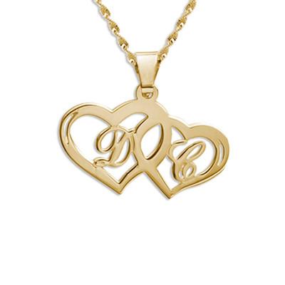 Hjertesmykke med bokstaver i 14 karat gull