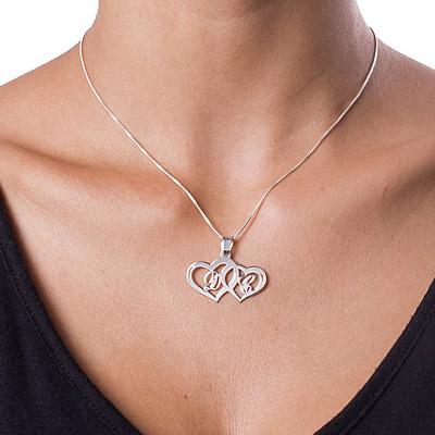 Hjertesmykke med bokstaver i sølv - 1