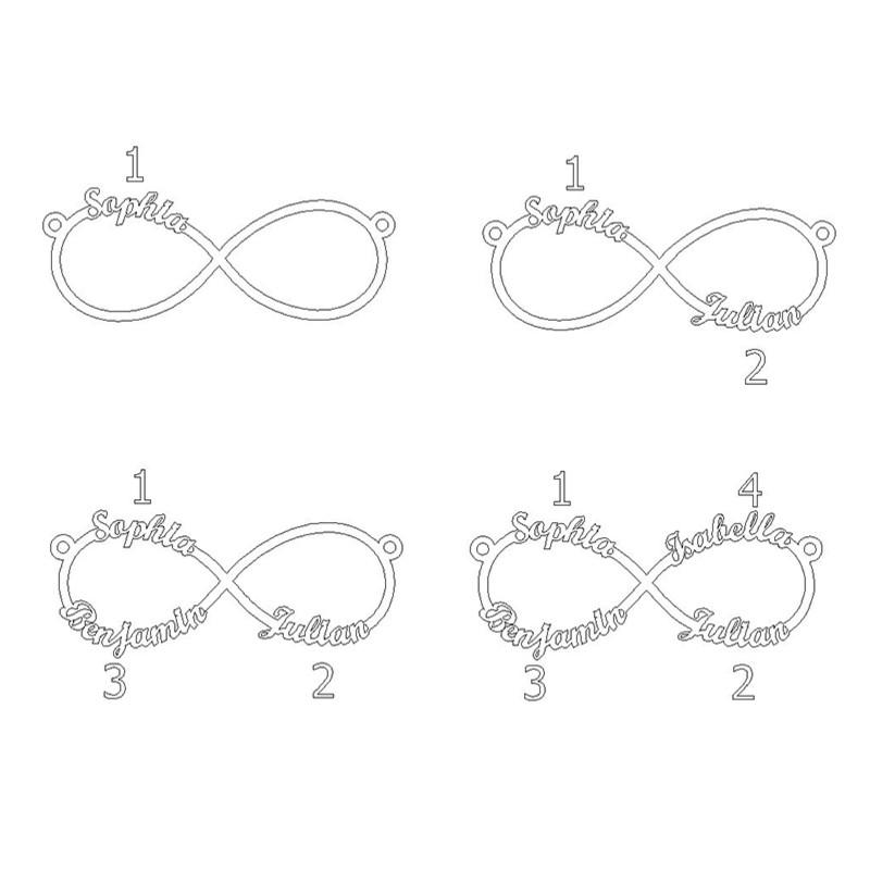 Rosegullbelagt infinity navnesmykke med 4 navn - 1