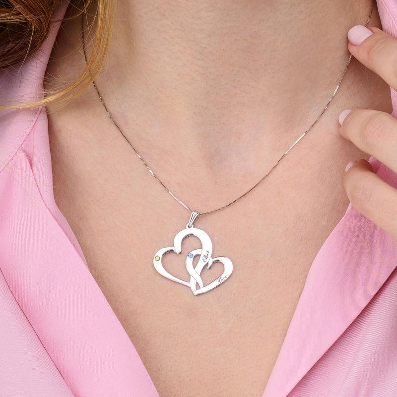 Gravert smykke med to hjerter i 10K hvitt gull - 2