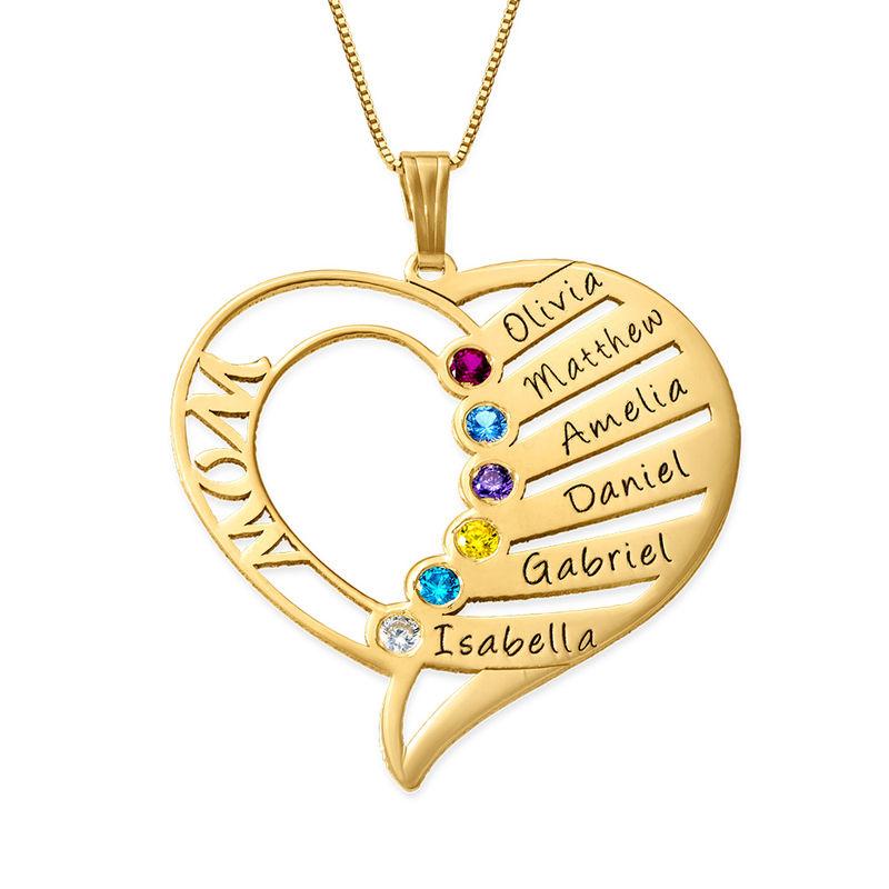 Hjerteformet månedssteinsmykke til mamma i 14K gull