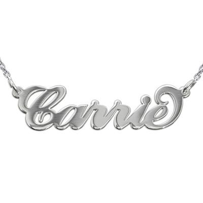 Carrie-style navnesmykke i sølv med rollo-kjede