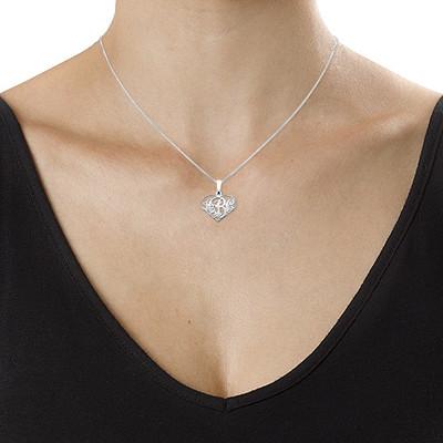 XS halssmykke i sølv med hjertemonogram - 1