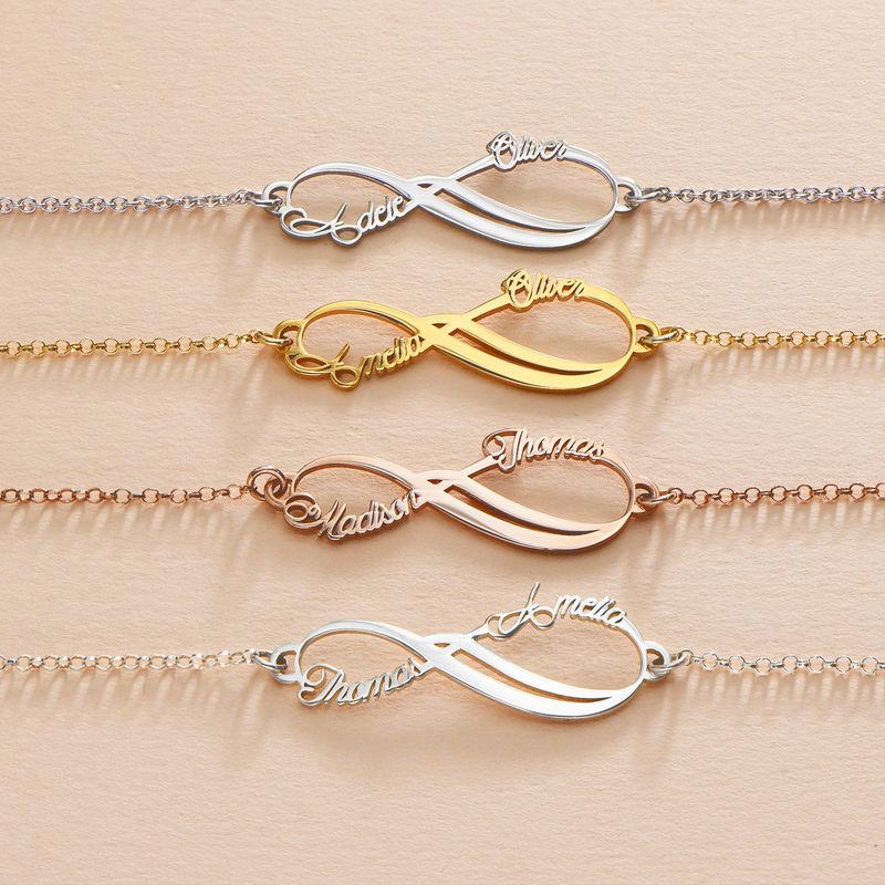 Infinity-armbånd med to navn - 14K hvitt gull - 2