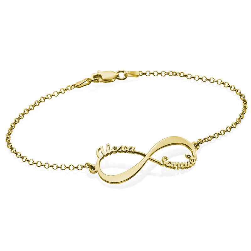Infinity armbånd med navn i 14K gull
