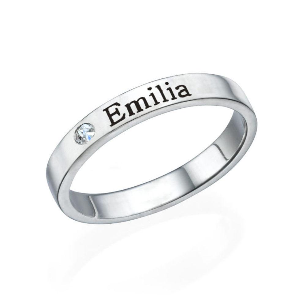 Stabelbar ring med navn i sølv med diamant