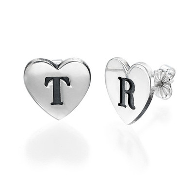 Hjerte øredobber med bokstav indgravering i sølv