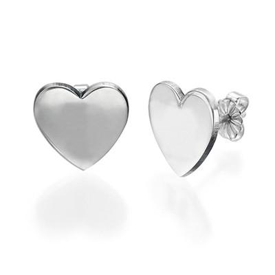 Hjerte øredobber med bokstav indgravering i sølv - 1