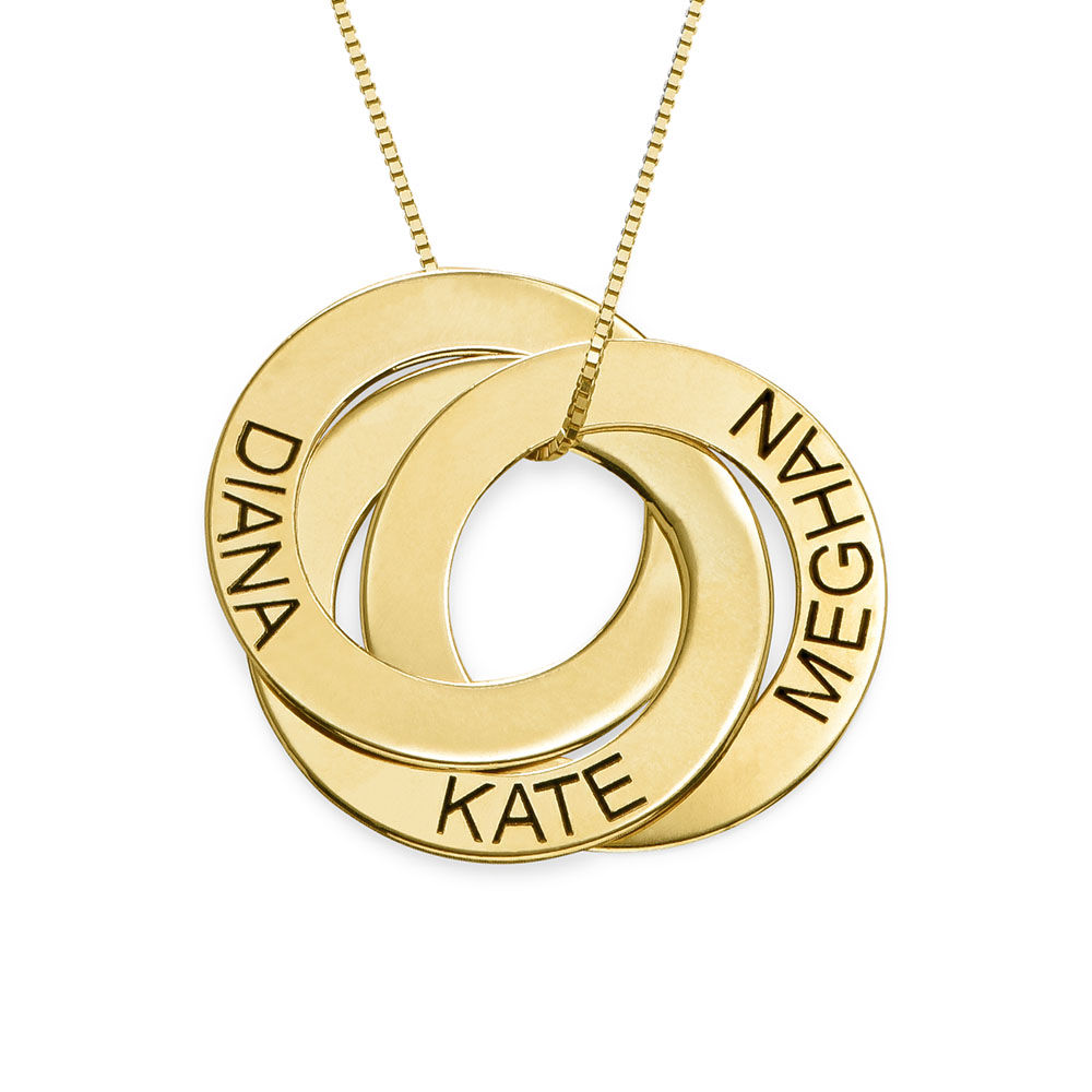 Russiske ring-halskjede med gravering i 10K gull