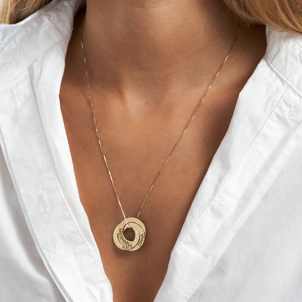 Russiske ring-halskjede med gravering i 10K gull - 4