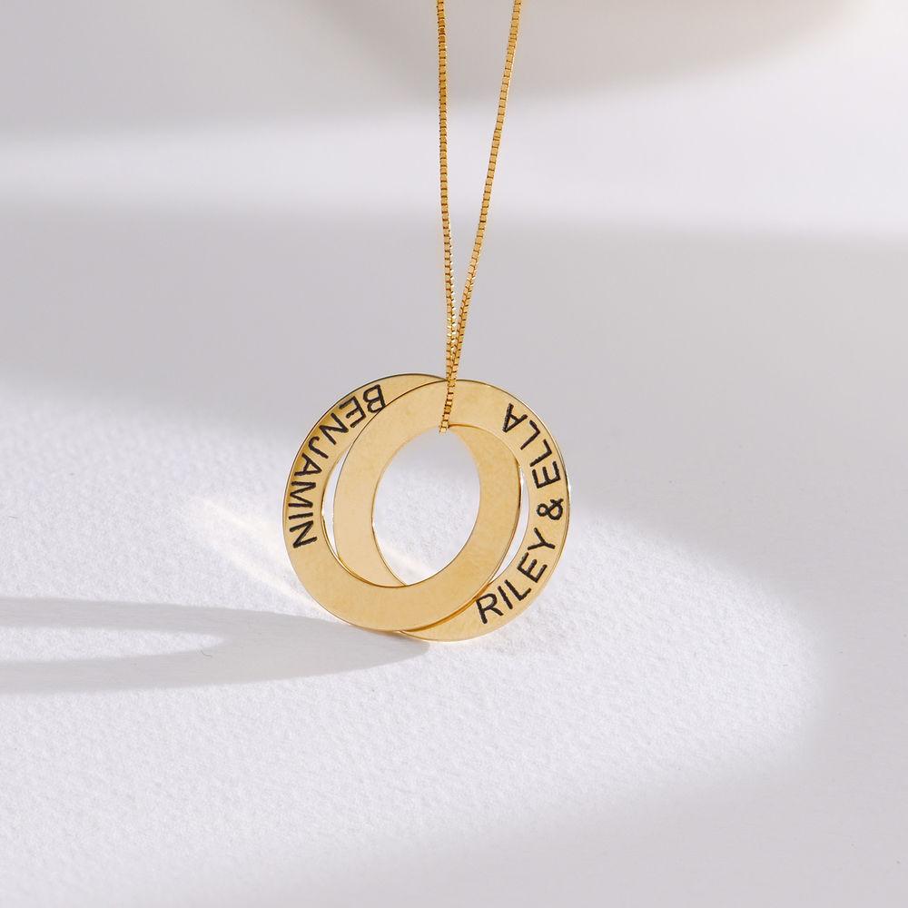 Russisk ring halskjede med 2 ringer i 10K gull - 1
