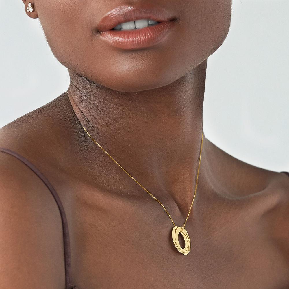 Russisk ring halskjede med 2 ringer i 10K gull - 2