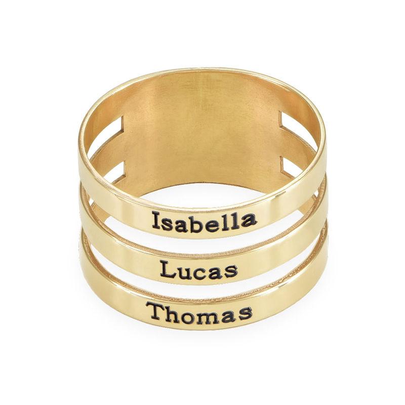 Tre ringer med navn i 10K gult gull - 1