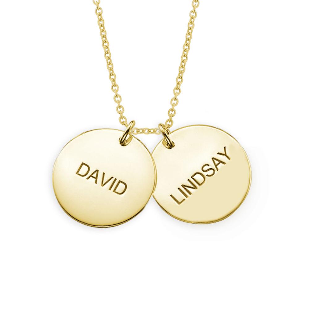 Personlig halssmykke med gullbelagte sølvplater