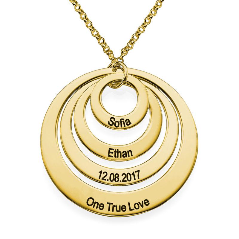 Rundt smykke med fire åpne sirkler og gravering i gullbelegg - 1