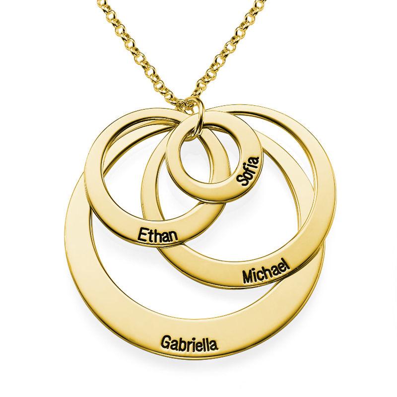 Rundt smykke med fire åpne sirkler og gravering i gullbelegg - 2