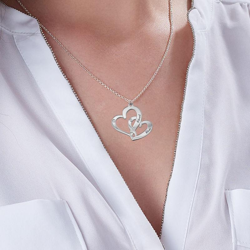 Inngravert smykke med to hjerter i sterlingsølv med diamanter - 2