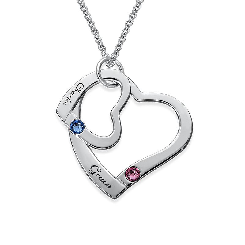 Hengende Hjerte i Hjerte halskjede med månedssteiner - 1