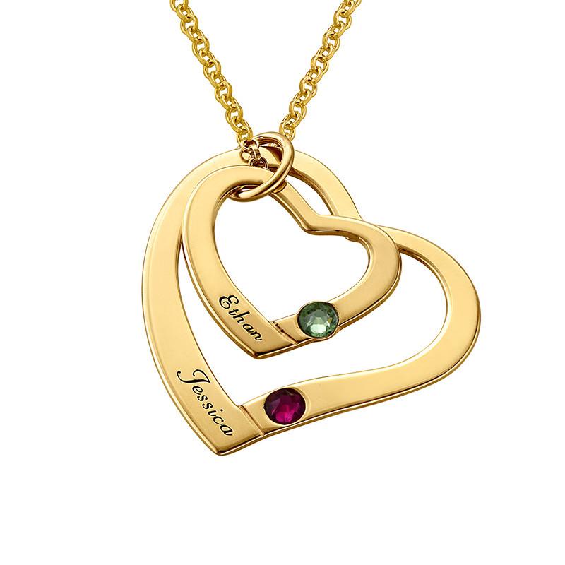 Gullbelagt hjerte i hjerte smykke med månedssteiner
