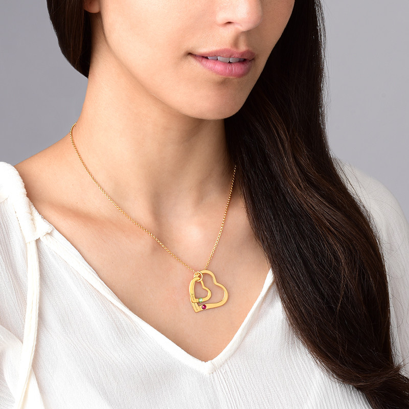 Gullbelagt hjerte i hjerte smykke med månedssteiner - 2