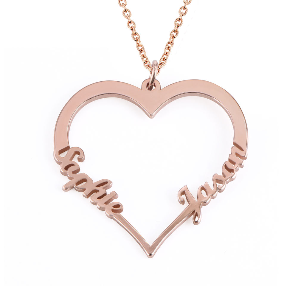 Hjerte smykke med navne i roseforgylt sølv