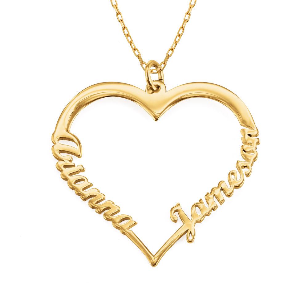 Hjerte smykke med navn i 10 karat gull