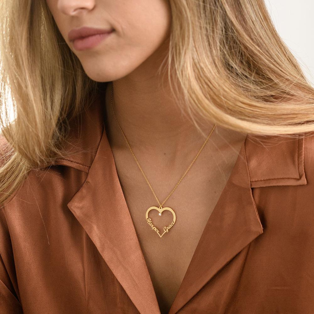 Diamant hjerte smykke i gull vermeil - Yours Truly-kolleksjonen - 1