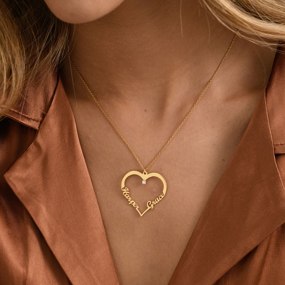 Diamant hjerte smykke i gull vermeil - Yours Truly-kolleksjonen - 2