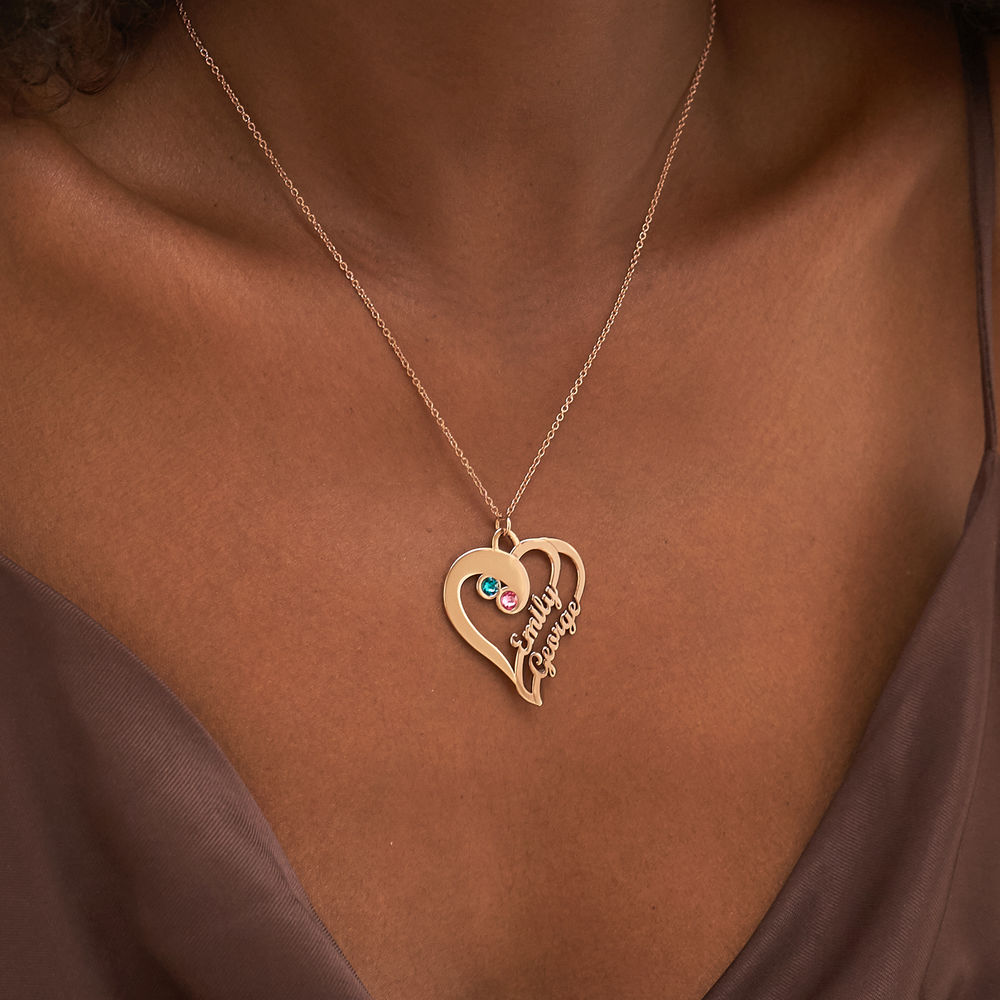 2 Hjerter for alltid Ett med Månedssteiner - roseforgylt med utskåret navn - 3