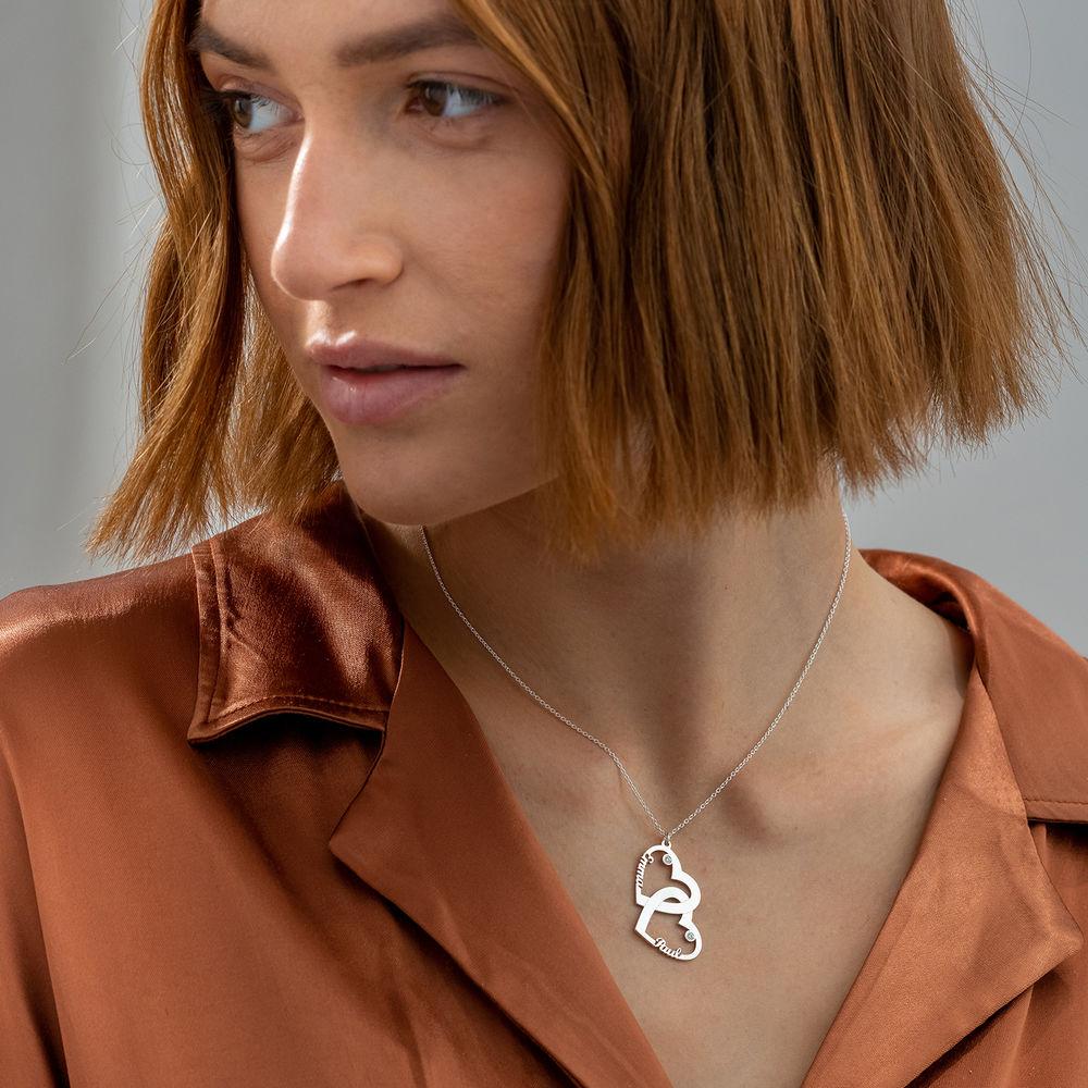 Diamant halssmykke med dobbelthjerte i sterling sølv - 1