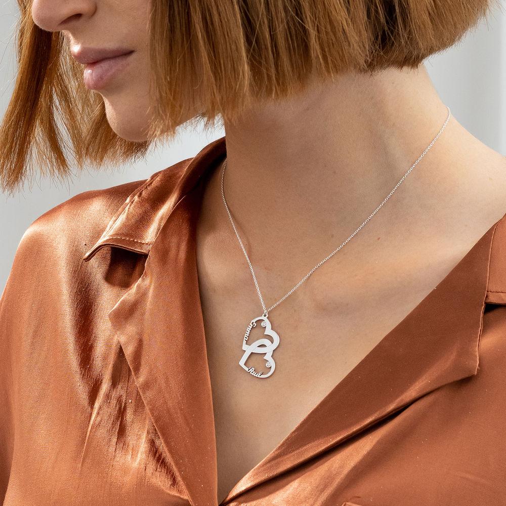 Diamant halssmykke med dobbelthjerte i sterling sølv - 2