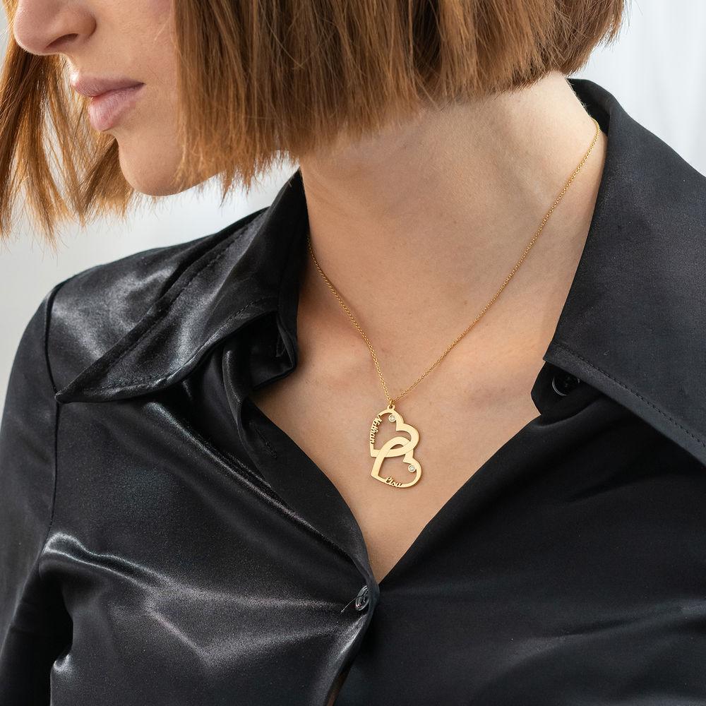 Diamant halssmykke med dobbelthjerte med 18K gullbelegg - 2