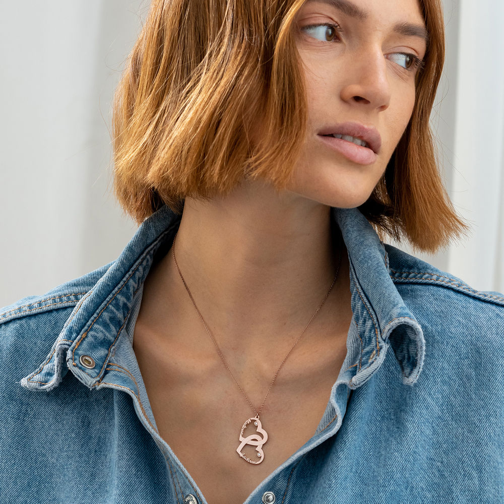 Diamant halssmykke med dobbelthjerte med 18K rosegullbelegg - 1