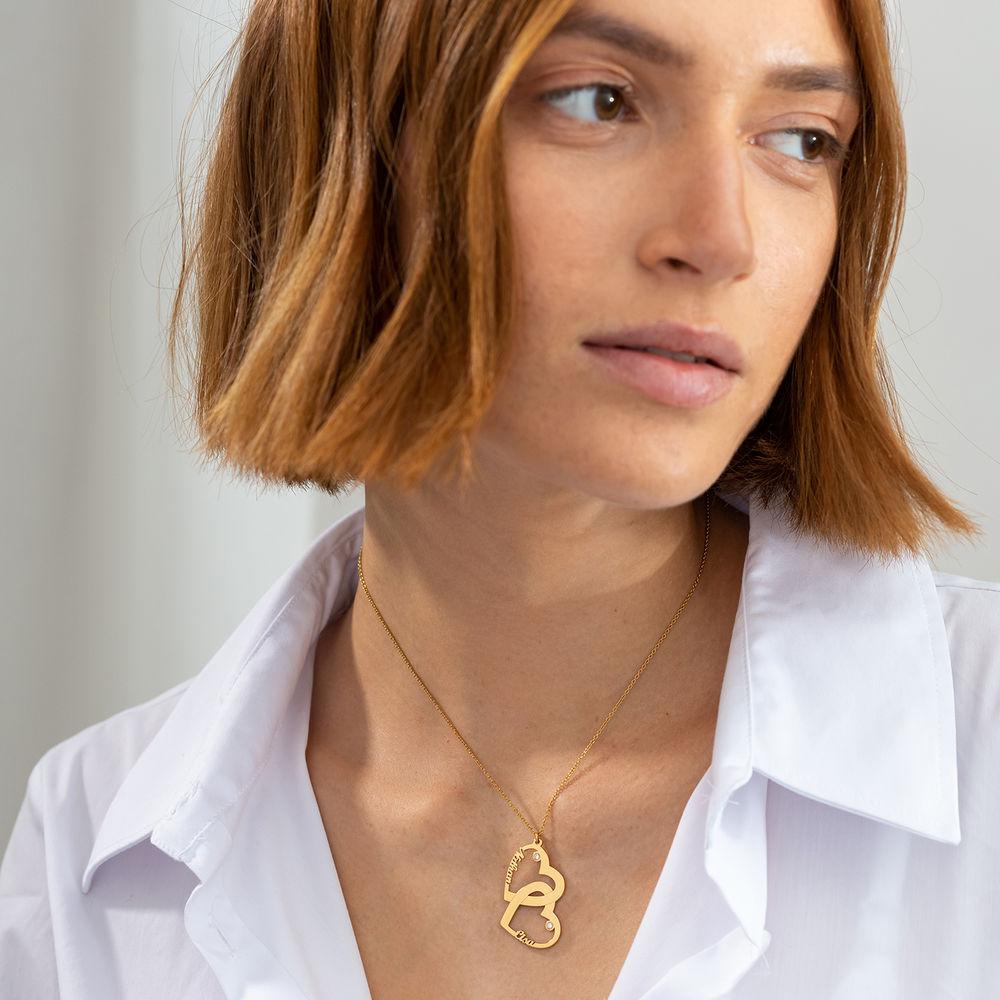 Diamant halssmykke med dobbelthjerte i gull vermeil - 1