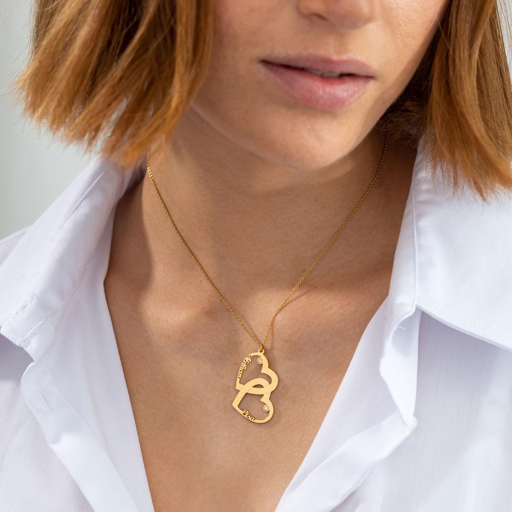 Diamant halssmykke med dobbelthjerte i gull vermeil - 2