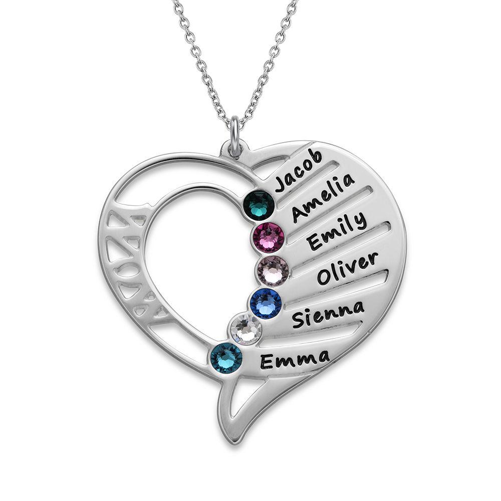 Hjerteformet Månedssteinsmykke - Kolleksjonen Evig kjærlighet