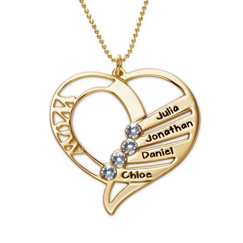 Hjerteformet månedssteinsmykke til mamma i 10K gull