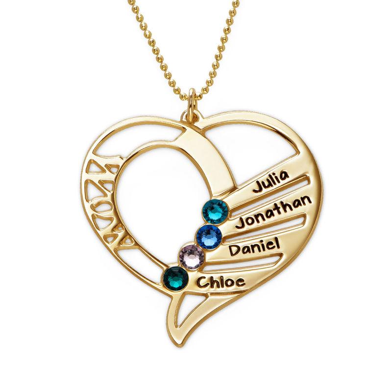 Hjerteformet månedssteinsmykke til mamma i 10K gull - 1