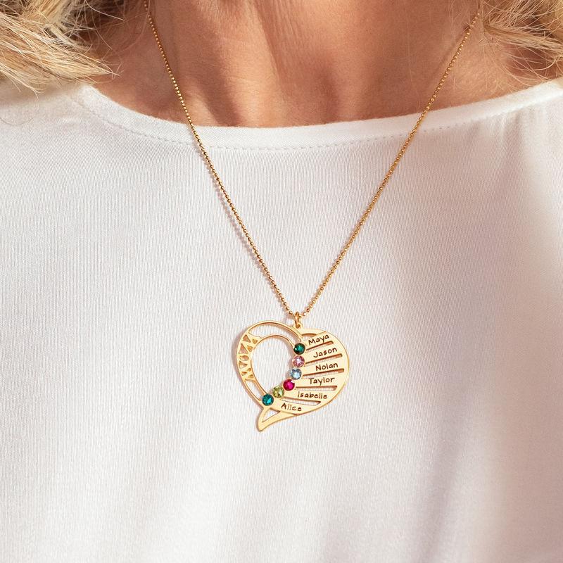 Hjerteformet månedssteinsmykke til mamma i 10K gull - 4