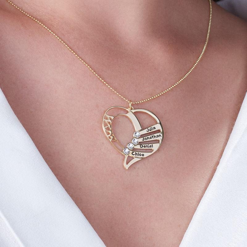 Hjerteformet månedssteinsmykke til mamma i 10K gull - 5