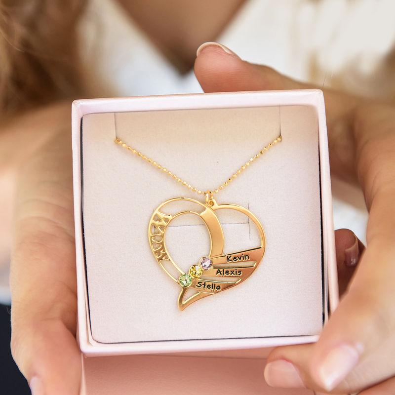 Hjerteformet månedssteinsmykke til mamma i 10K gull - 6