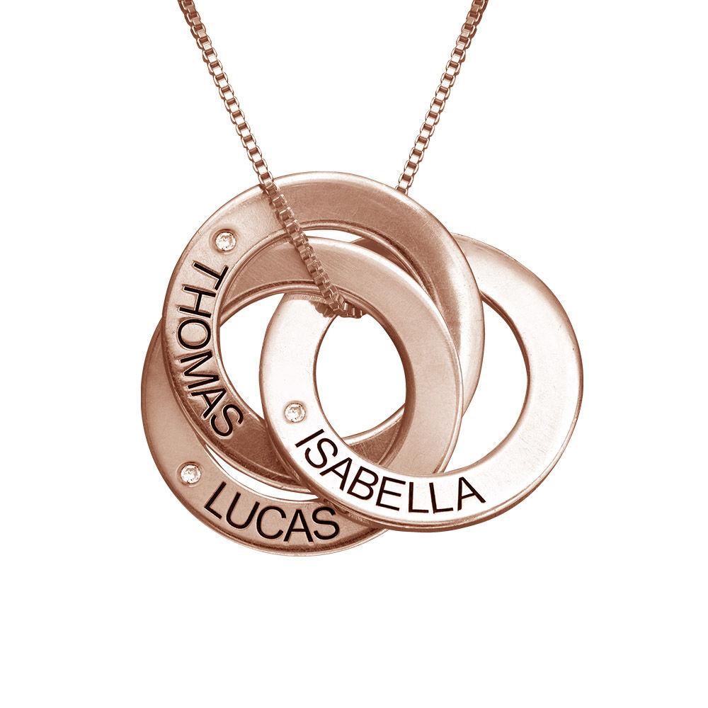 Rosegull forgylt russisk ring halskjede med gravering og diamant