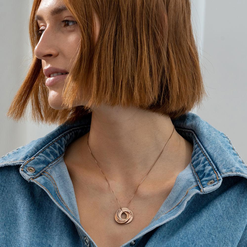 Rosegull forgylt russisk ring halskjede med gravering og diamant - 1