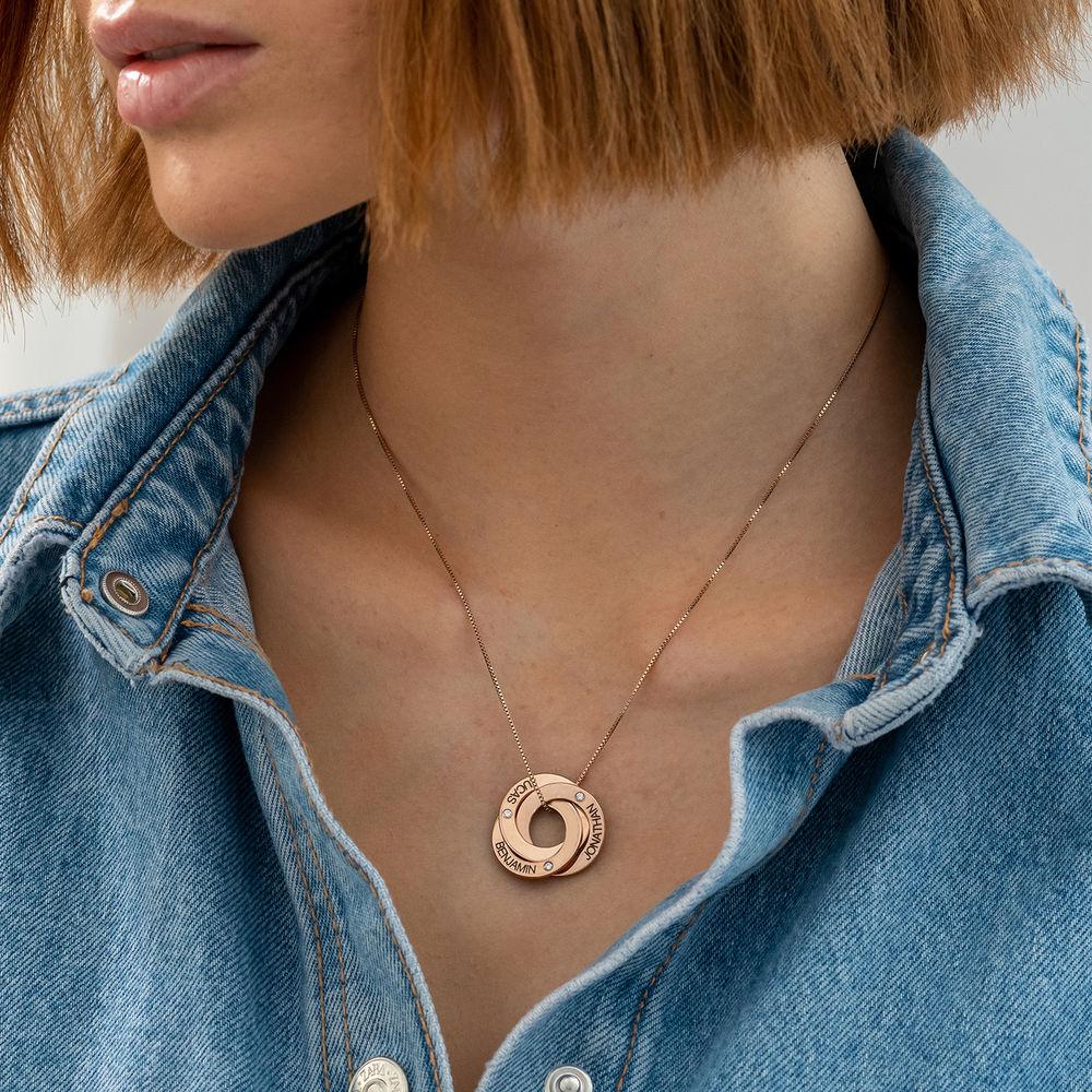 Rosegull forgylt russisk ring halskjede med gravering og diamant - 2