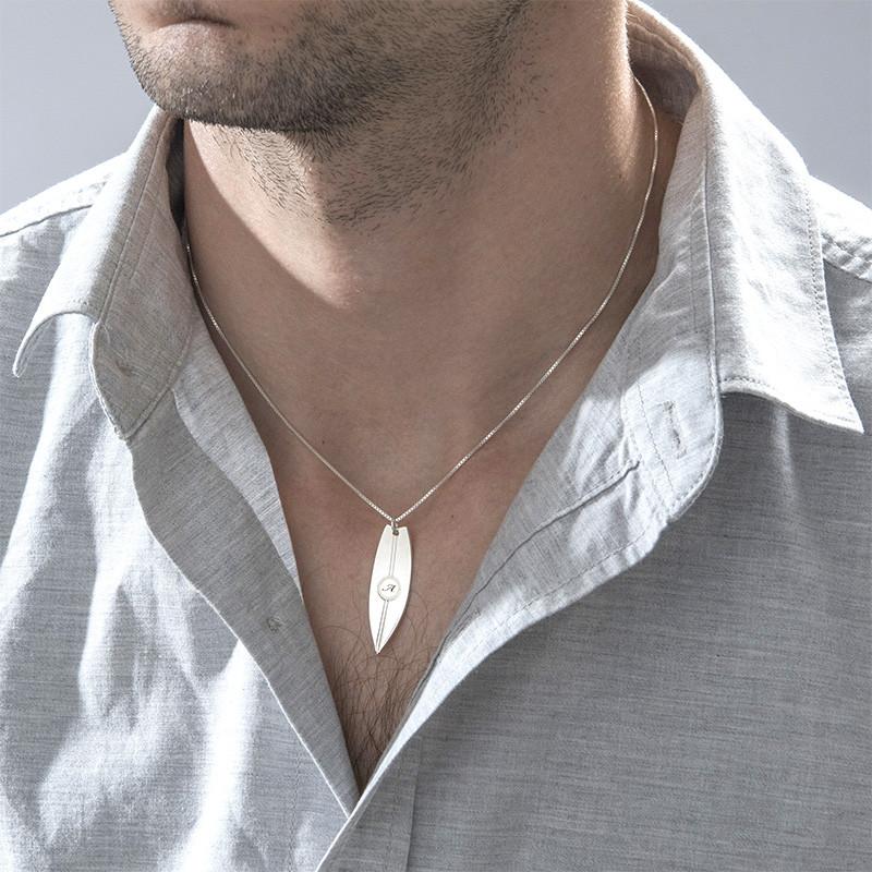 Personlig surfebrett smykke med bokstav i sølv - 2