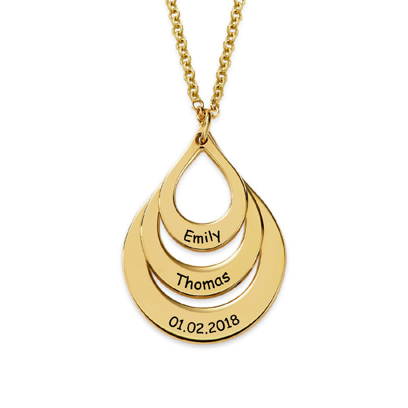 Dråpeformet familiehalskjede med inngravering i gull-vermeil - 2
