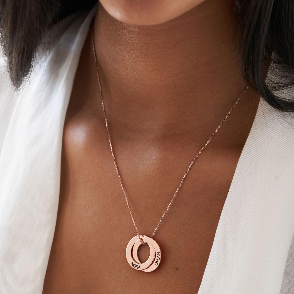 Russisk ring-halskjede med 2 ringer i rosegullbelegg - 2