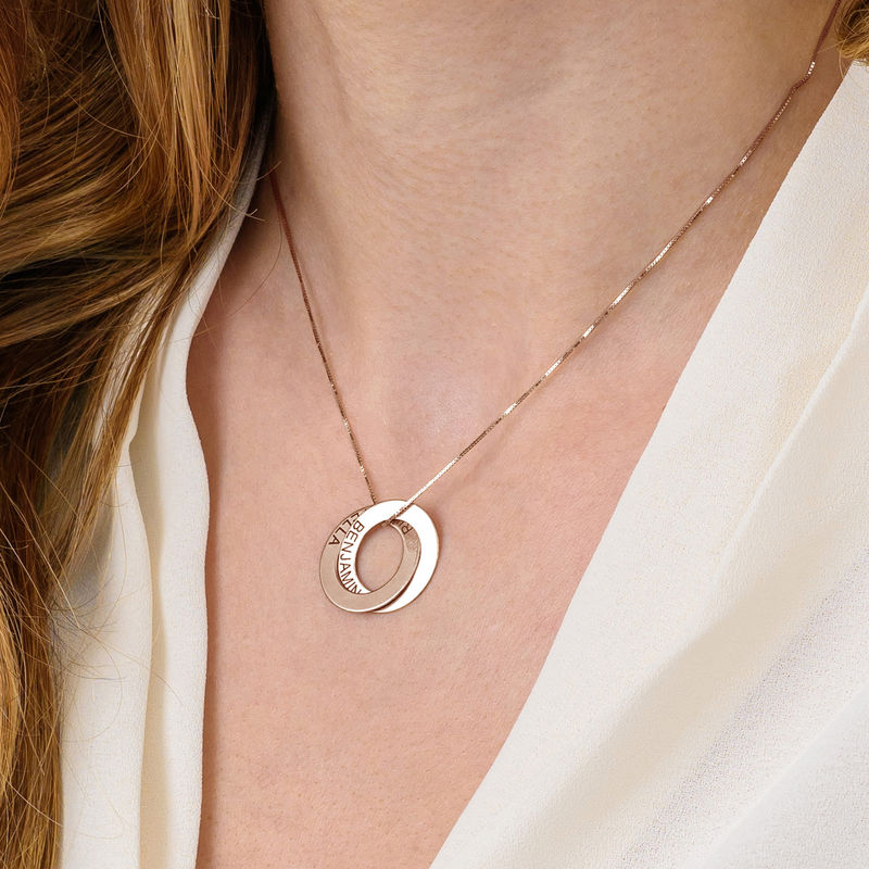 Russisk ring-halskjede med 2 ringer i rosegullbelegg - 5
