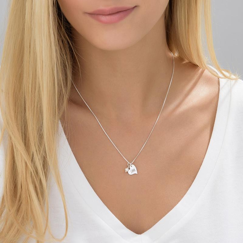 Hjertesmykke med bokstav og perle i sølv - 1