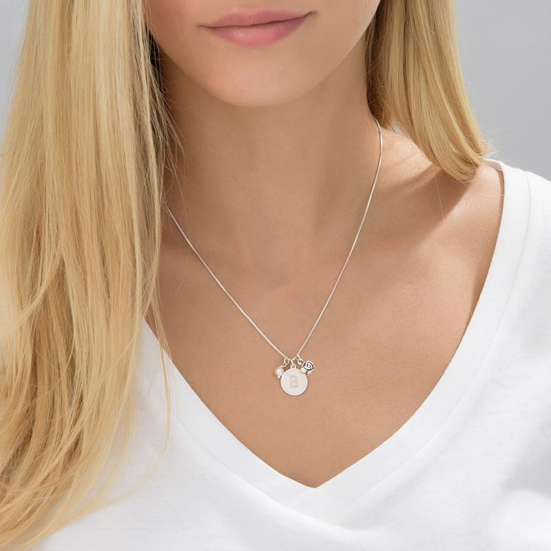 Bokstav halskjede med perle og rosa sjarm - 3